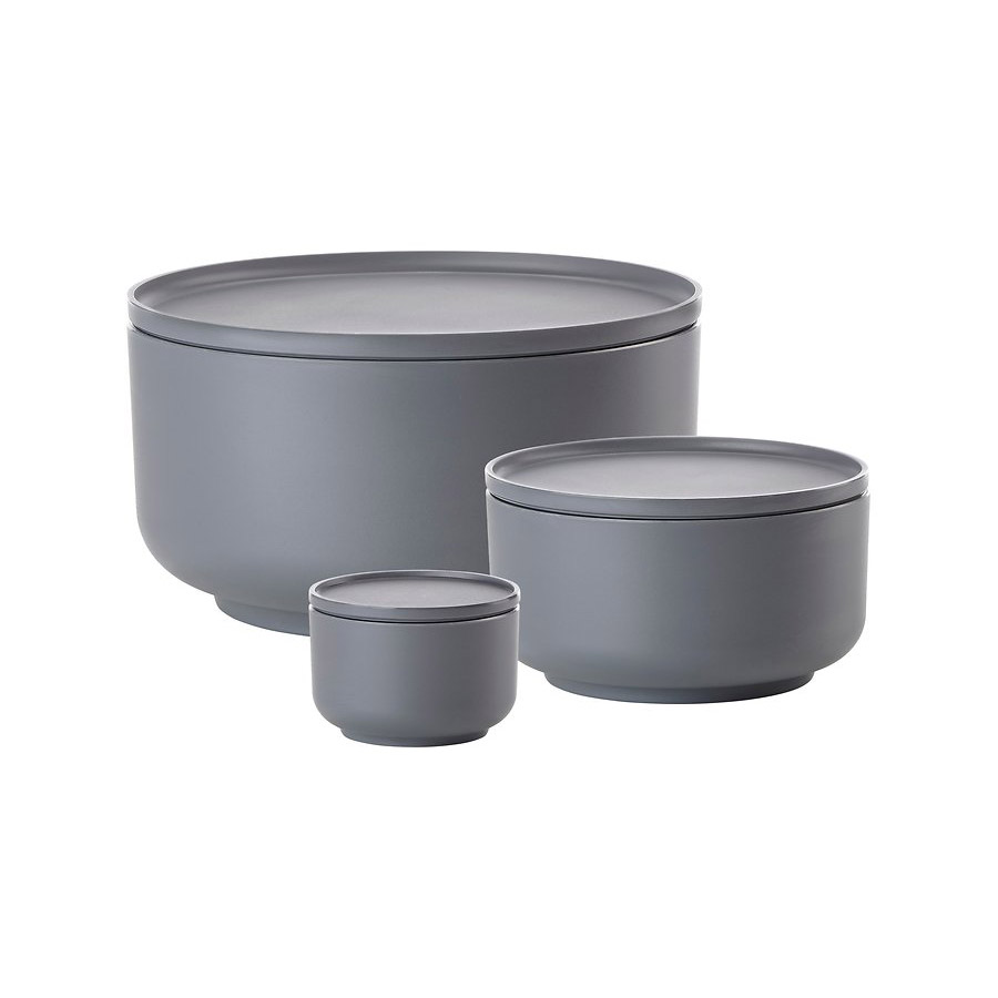 Peili bowl dish set of 3 cool grey jilko for Kitchen colors with white cabinets with rouleau papier cadeau